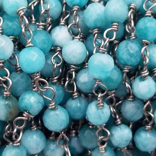 Catene Rosario   Catena rosario pietre dure amazzonite tonda 4 mm filo rodio pacco 50 cm - am8820zx