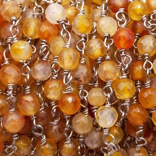 Catene Rosario   Catena rosario pietre dure corniola 4 mm filo rodio pacco 50 cm - co8893px