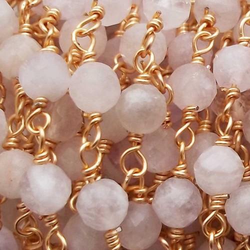 Catene Rosario   Catena rosario quarzo 5 mm sfac. filo ottone oro pacco 50 cm - ro6ame3