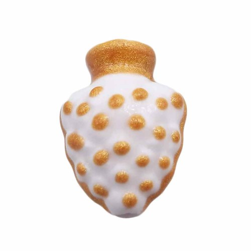 Ceramica Siciliana | Anfora siciliana dipinta a mano 18.4x13.5 mm forata bianca oro 1 pezzo - anfob3
