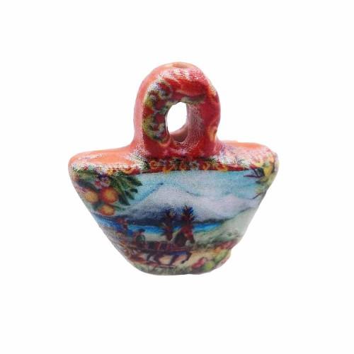 | Borsetta in ceramica siciliana con carretto e vulcano 24 mm 1 pezzo - borsic55