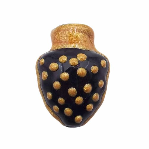 Ceramica Siciliana | Anfora siciliana dipinta a mano 18.4x13.5 mm forata nera oro 1 pezzo - anfob6