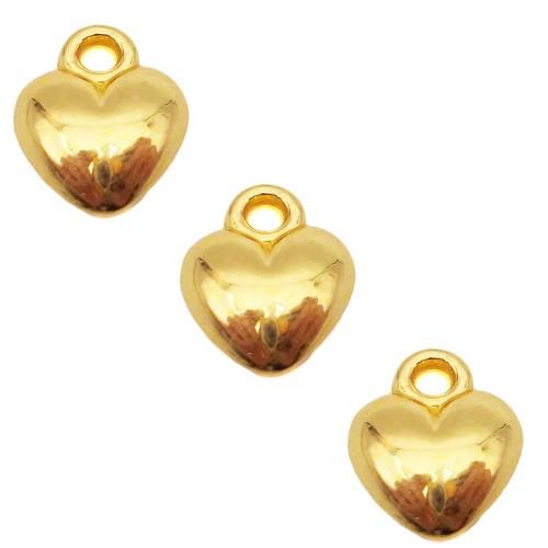 Charms In Metallo | Charms cuore oro 11.3 mm pacco da 10 pezzi - chcuo13