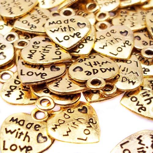 Charms In Metallo | Charms oro 12x10 mm con scritta pacco da 10 pezzi. - Tr0087
