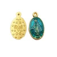 Charms religiosi oro colorato verde bottiglia 17.4x10 mm 1 pezzo