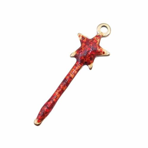 Charms In Acciaio | Bacchetta magica oro acciaio strass rossi 20 mm pacco 1 pezzo - baccb2r