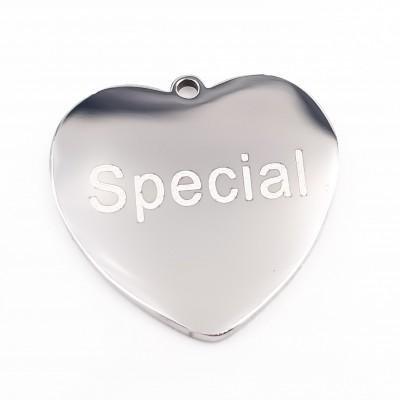 Charms acciaio cuore Special doppia lucidatura 1 pz