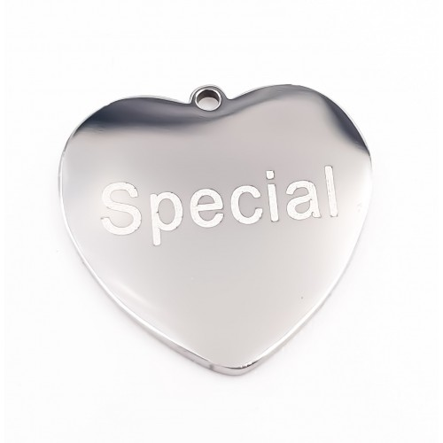 Charms Acciaio Ingrosso | Charms acciaio cuore Special doppia lucidatura 1 pz - Spec12