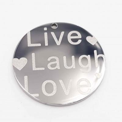 Charms acciaio doppia lucidatura Live laugh Love 18 mm 1 pz
