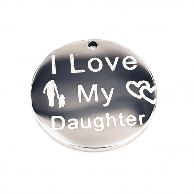 Charms acciaio I Love My Daughter doppia lucidatura 15 mm 1 pz