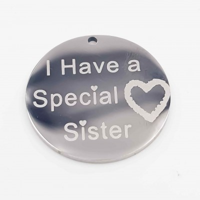 Charms acciaio Special Sister doppia lucidatura 18 mm 1 pz