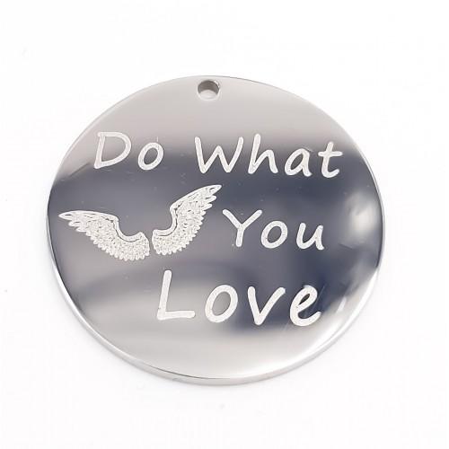 Charms Acciaio Ingrosso | Charms acciaio tondo doppia lucidatura 18 mm Do What You Love 1 pz - Dowa1