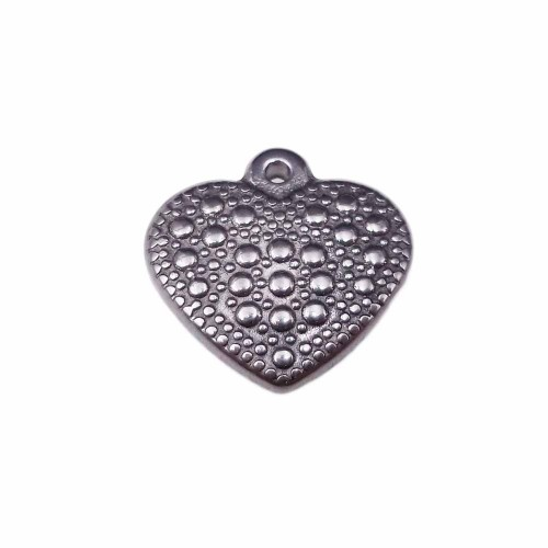 Charms In Acciaio | charms cuore 3d in acciaio 16 mm pacco 1 pezzo - ccuo28z