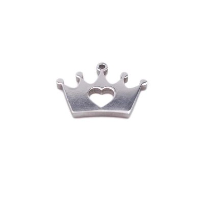 Pacco ingrosso Charms in acciaio coroncina 12.8x8.9 mm 10 pz