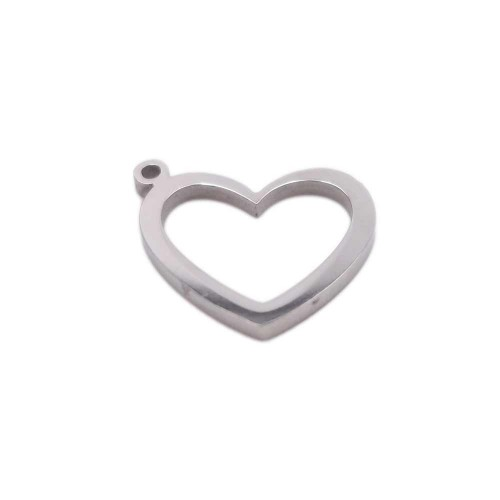 Charms Acciaio Ingrosso | Pacco ingrosso Charms in acciaio cuore 12.9x12.8 mm pacco 10 pz - fbc9zz