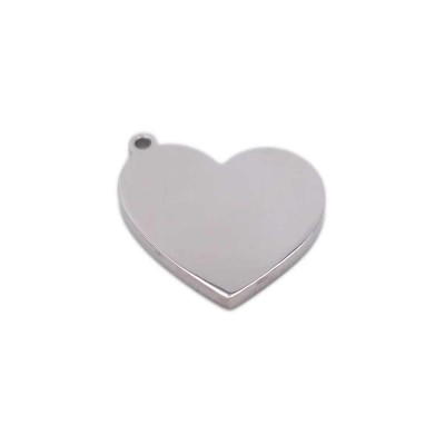 Charms in acciaio cuore 14.4x14 mm pacco 1 pz