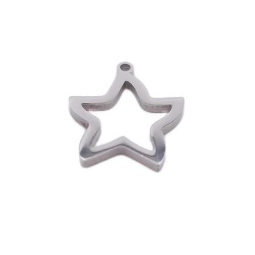 Charms In Acciaio | Charms in acciaio stella 13.6x11.5 mm pacco 1 pz - fbc8