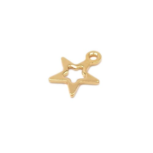 Charms In Acciaio | Charms in acciaio stella oro 10.6 mm pacco 1 pezzo - chst2w