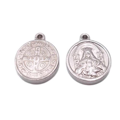 Componenti religiosi | Charms religiosi in acciaio 17x14x2.3 mm 1 pz - c1062