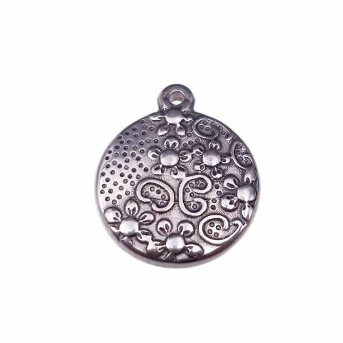 Charms In Acciaio | charms tondo decorato 3d in acciaio 17 mm pacco 1 pezzo - mmn9z58