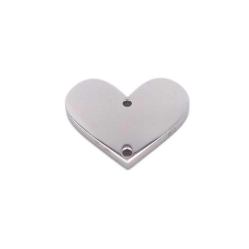Connettori In Acciaio | Connettore cuore in acciaio 12.6x14.8 mm pacco 1 pezzo - fbc11