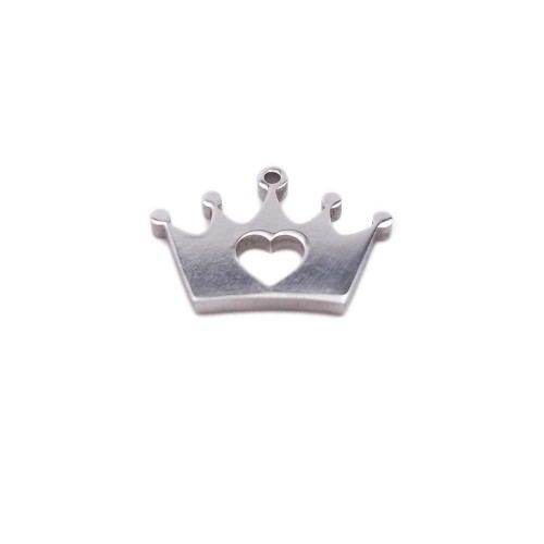 Charms Acciaio Ingrosso | Pacco ingrosso Charms in acciaio coroncina 12.8x8.9 mm 10 pz - fbcxx