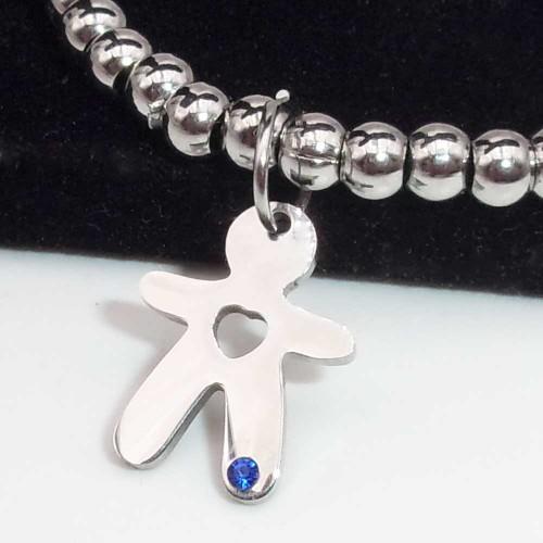 Charms Acciaio Lucidatura a specchio pacchi ingrosso | 10 pz Charms acciaio bimbo con strass azzurro 15x11.5 mm - bimbo0028