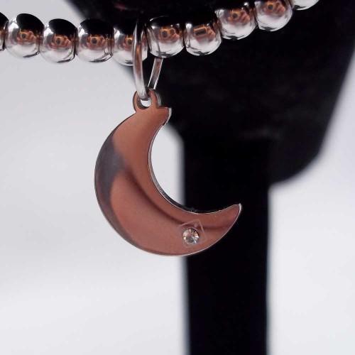 Charms Acciaio Lucidatura a specchio pacchi ingrosso | 10 pz Charms acciaio luna con  strass 15.5 mm - 767z11