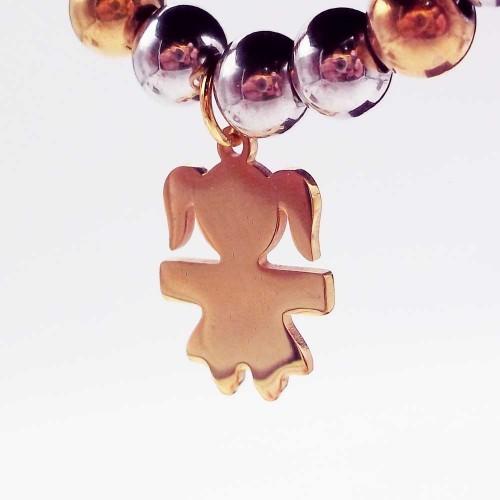 Charms Acciaio Lucidatura a specchio pacchi ingrosso | 10 pezzi Charms acciaio bimba oro 16x10 mm - 10pz7728
