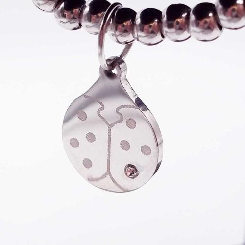 Charms lucidatura specchio | Charms acciaio coccinella con strass 16.3 mm 1 pz - cocc77689