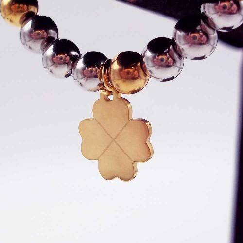 Charms Acciaio Lucidatura a specchio pacchi ingrosso | 10 pz Charms acciaio oro quadrifoglio13.7 mm - quaxpp8