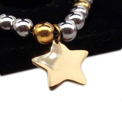 Charms Acciaio Lucidatura a specchio pacchi ingrosso | 10 pz Charms stella acciaio oro 14.2x15 mm - ste5525m