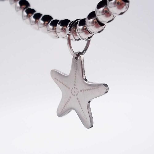 Charms Acciaio Lucidatura a specchio pacchi ingrosso | 10 pz Charms stella marina acciaio 14.7 mm - luc10d4