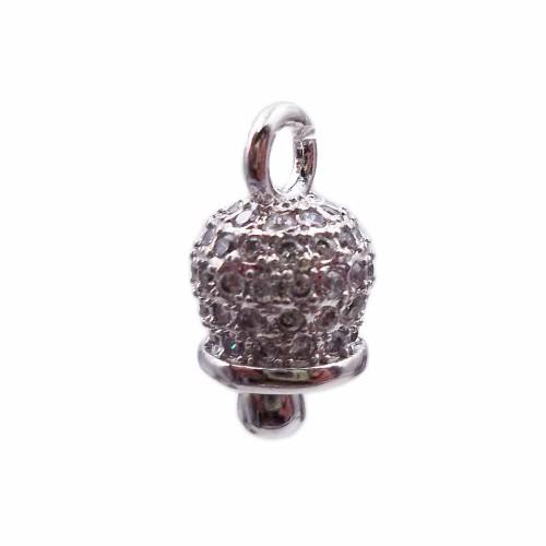 Charms in Ottone Con Strass | Campanellino in ottone argentato con strass bianchi 12x7 mm pacco 1 pezzo - camp1e
