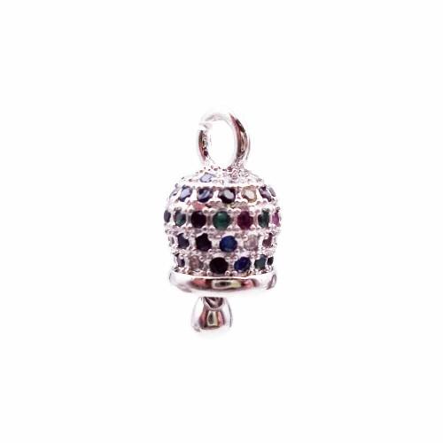 Charms in Ottone Con Strass | Campanellino in ottone argentato con strass colorati 12x7 mm pacco 1 pezzo - camp1x1