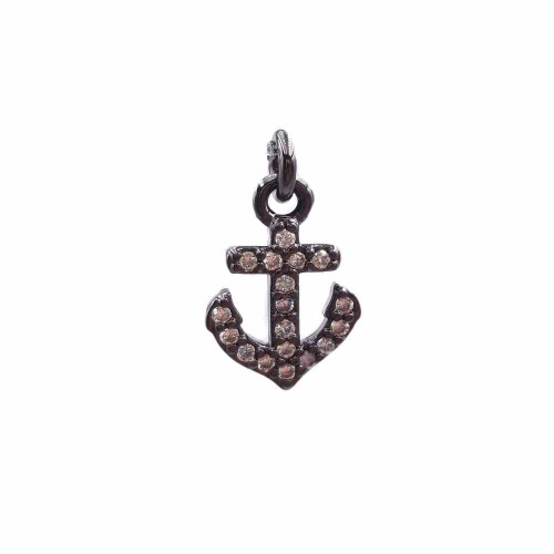 Charms in Ottone Con Strass | Charms ancora in ottone con strass 12.4x8.3 mm 1 pz - hj5