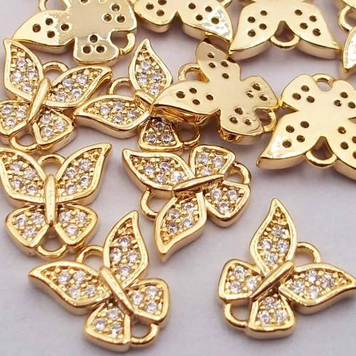 Charms in Ottone Con Strass | Charms con strass bianchi farfalla 9.1x9.4 mm oro pacco 1 pezzo - farb8901