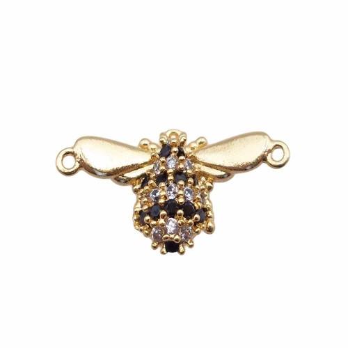 Charms in Ottone Con Strass | Charms con strass neri e bianchi scarabeo 10x18.8 mm mm oro pacco 1 pezzo - scar88jh