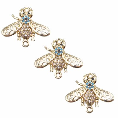 Charms con strass scarabeo 17.8x16 mm oro pacco 1 pezzo
