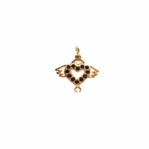 Charms in Ottone Con Strass | Charms /connettore cuore in ottone dorato con strass 11.6x10.8 mm 1 pz - hj10
