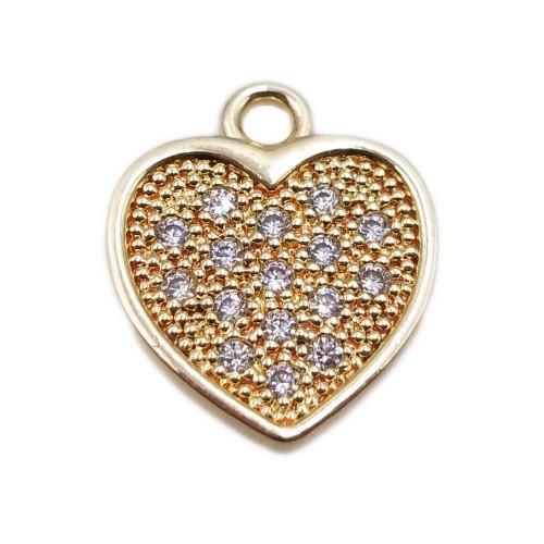 Charms in Ottone Con Strass | Charms cuore ottone oro con strass 12x9.6 mm 1 pezzo - ccuor6638