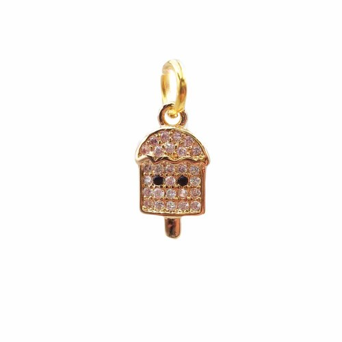 Charms in Ottone Con Strass | Charms gelato in ottone dorato con strass 13.2x7.5 mm 1 pz - hj6