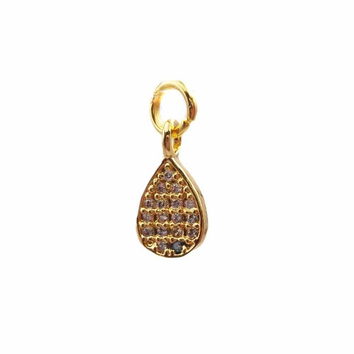 Charms in Ottone Con Strass | Charms goccia in ottone dorato con strass 13.4x7 mm 1 pz - hj11