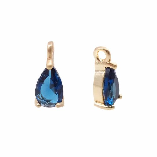 Charms in Ottone Con Strass | Charms in ottone con strass blu scocca oro 8.7x4.3 mm 1 pz - jl3