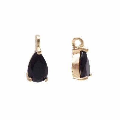 Charms in ottone con strass nero scocca oro 8.7x4.3 mm 1 pz