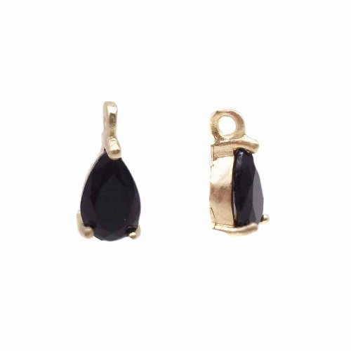 Charms in Ottone Con Strass | Charms in ottone con strass nero scocca oro 8.7x4.3 mm 1 pz - jl1