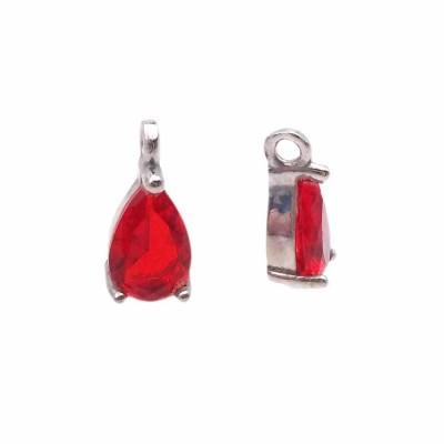Charms in ottone con strass rosso scocca rodiata 8.7x4.3 mm 1 pz