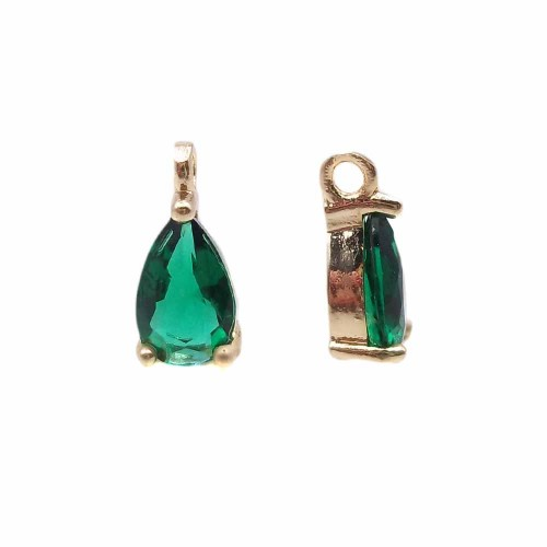 Charms in Ottone Con Strass | Charms in ottone con strass verde scocca oro 8.7x4.3 mm 1 pz - jl2