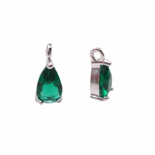 Charms in Ottone Con Strass | Charms in ottone con strass verde scocca rodiata 8.7x4.3 mm 1 pz - jl6