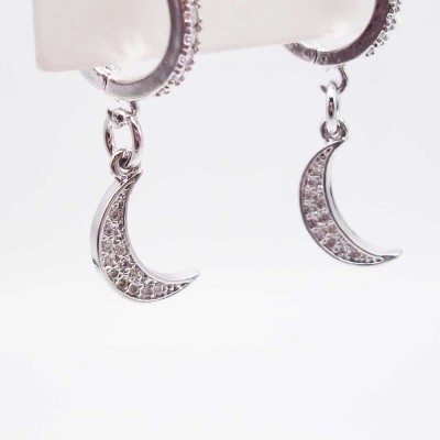 Charms Luna con strass 14 mm pacco 1 pz
